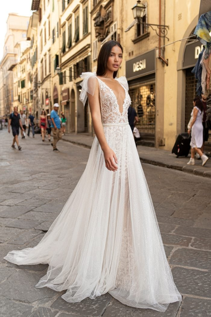 Plunge neck beaded designer wedding dress Filipa Muse by Berta
