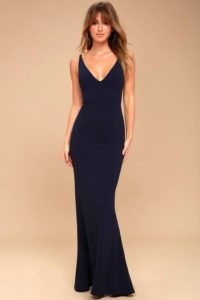 Fitted Navy Blue V Neck Maxi Dress