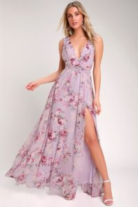 Purple floral maxi dress with V neck