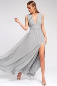 Light grey v neck maxi dress for wedding guest or bridesmaid