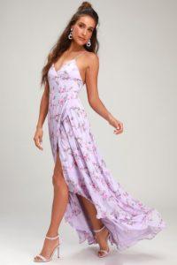 Purple floral print wrap maxi dress for a wedding guest