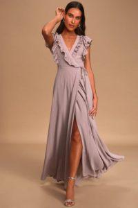 Purple grey ruffled wrap maxi dress