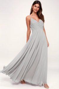 Light gray maxi dress with spaghetti straps