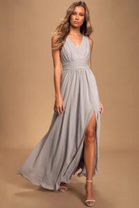 Light grey v neck sleeveless maxi dress for a wedding