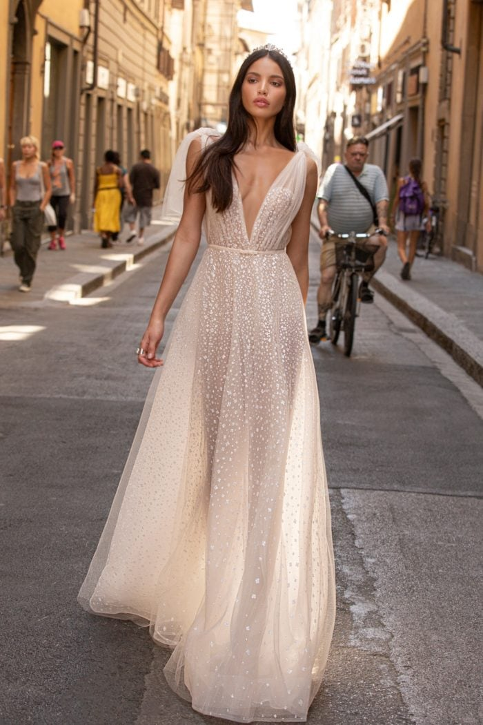 Sparkling beaded tulle plunge v neck bridal gown with shoulder ties