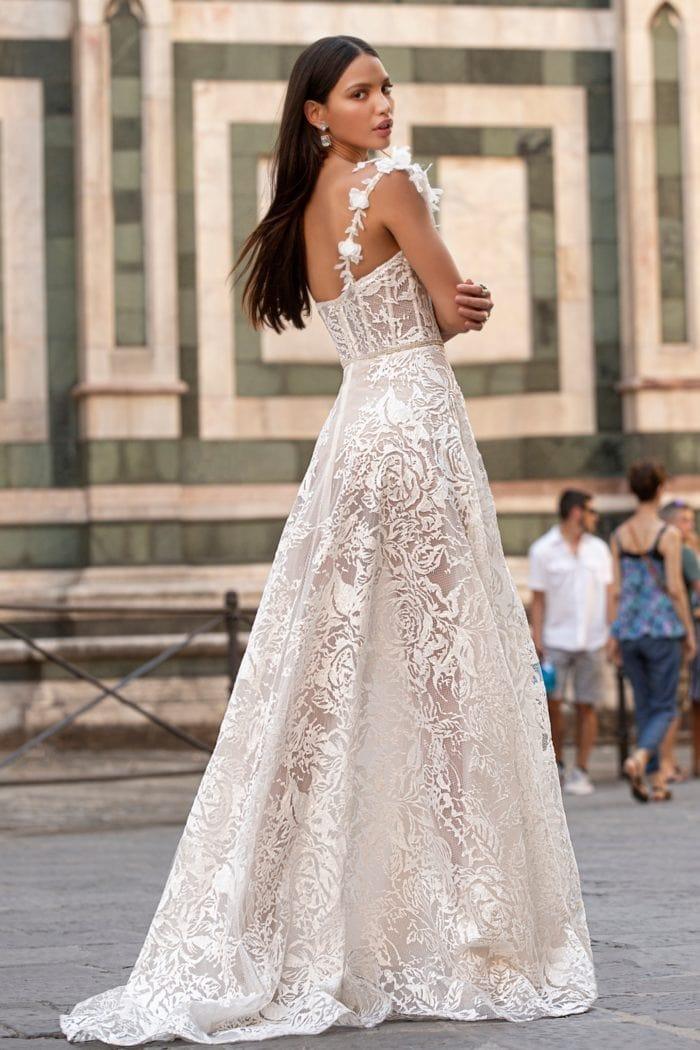 Sheer floral lace designer one shoulder bridal gown