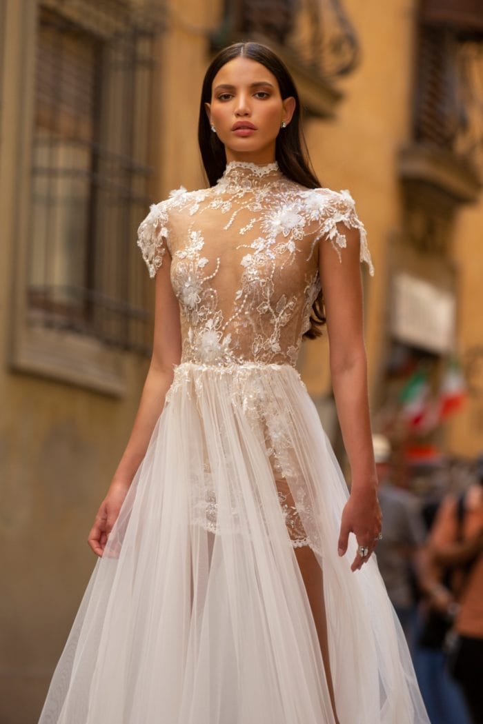 Sheer high neck lace and tulle wedding dress
