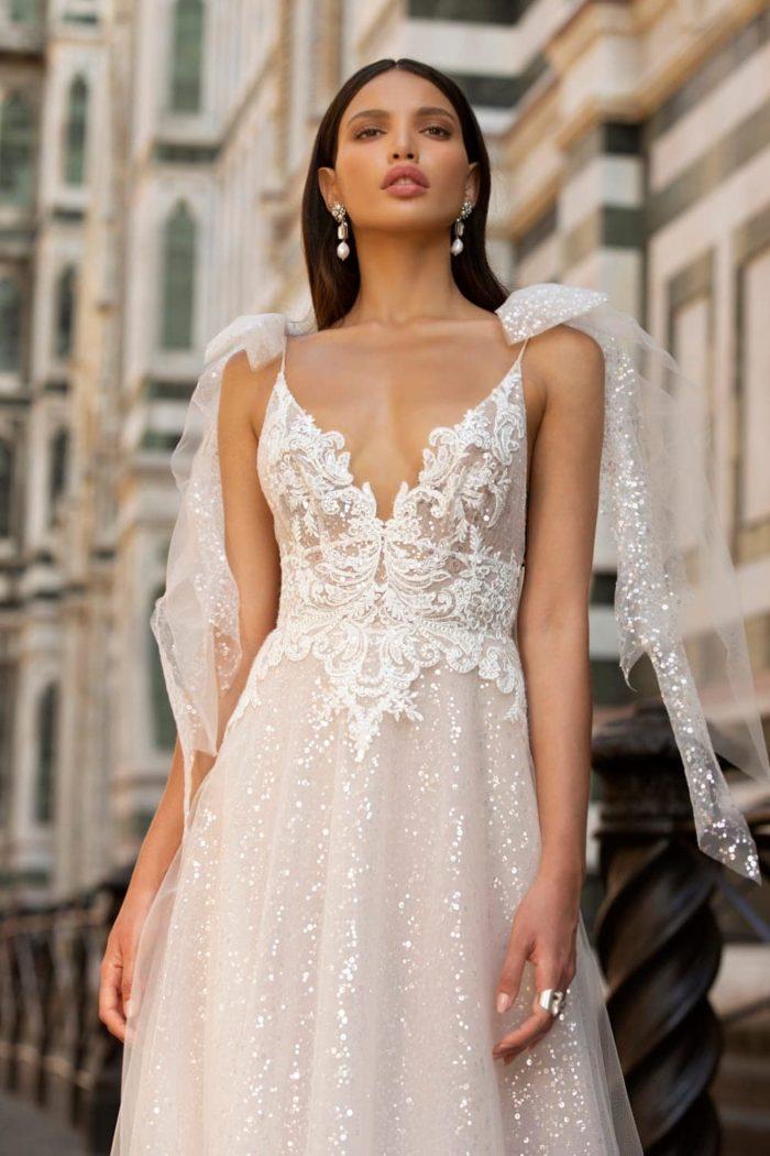 lace bodice v neck sequin tulle wedding dress