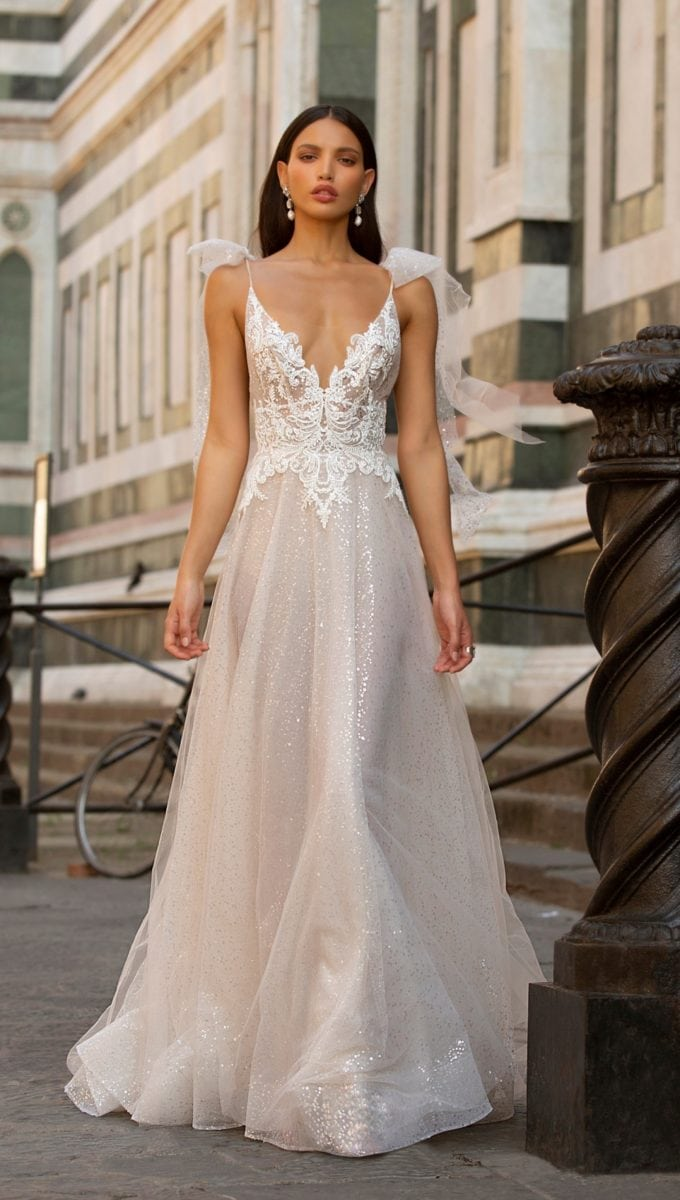 Lace tulle and beaded bridal gown