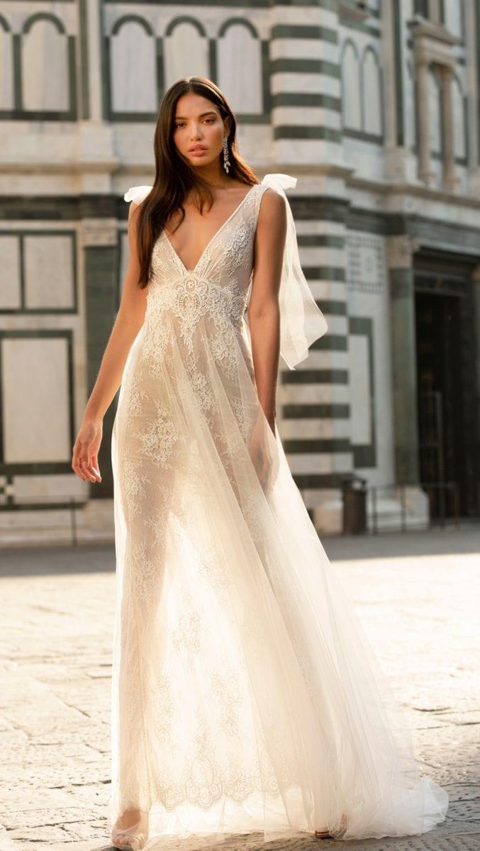 Sheer lace Muse by Berta wedding dress Fall Winter 2020