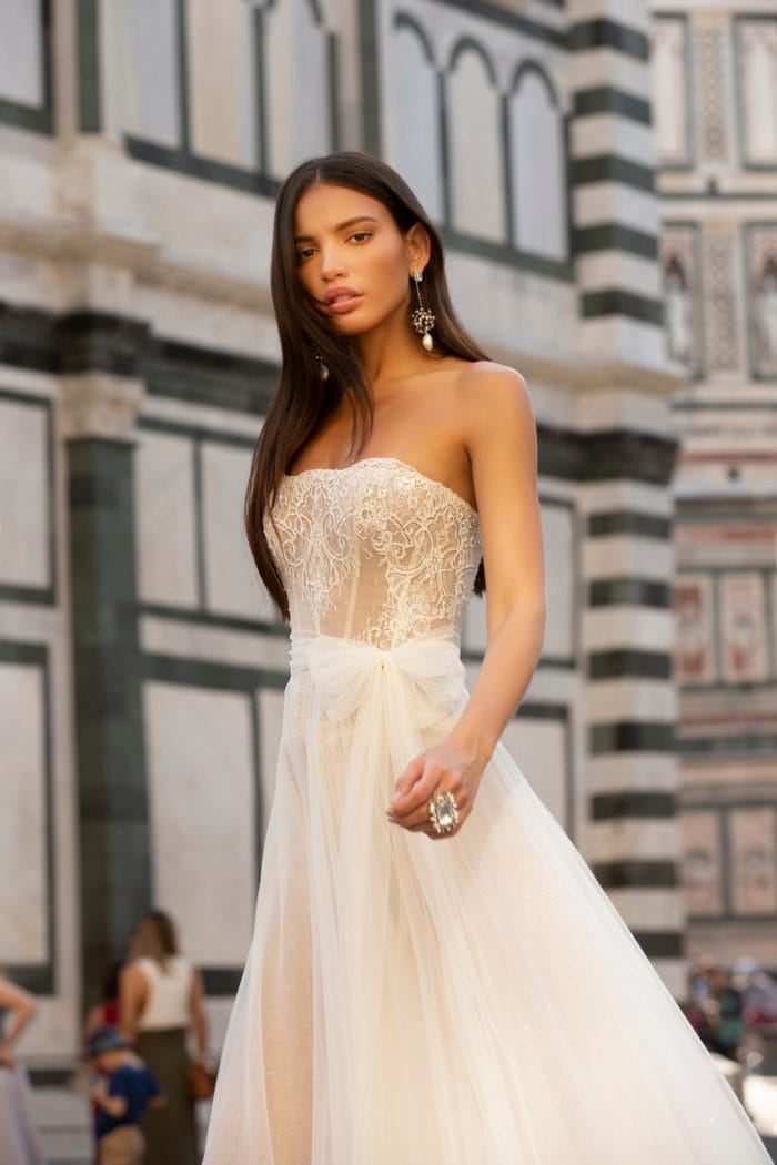 Strapless sheer lace and tulle wedding dress