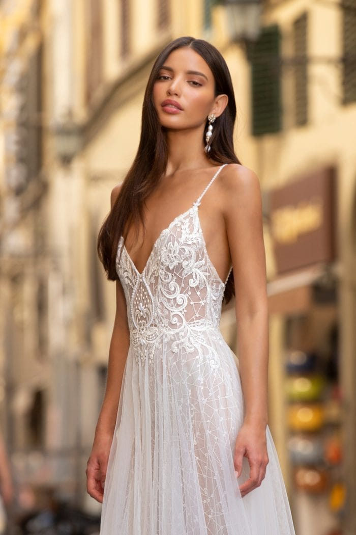Boho lace embroidered spaghetti strap bridal gown Muse by Berta Wedding Dresses 2020