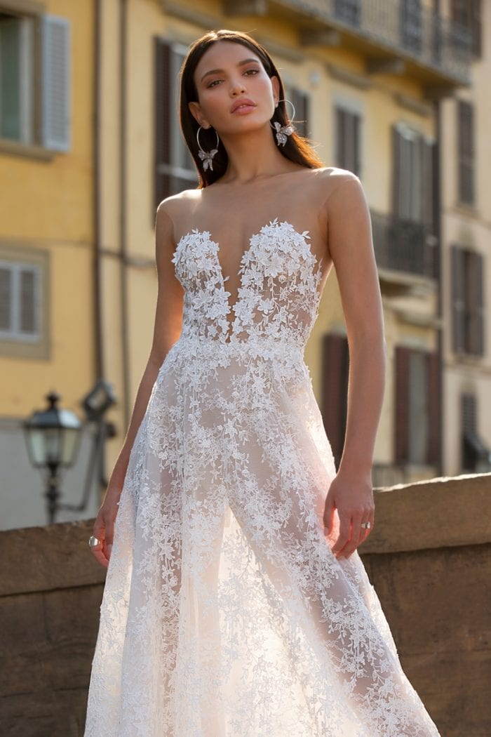 illusion lace bodice plunge neckline bridal gown with sheer floral lace