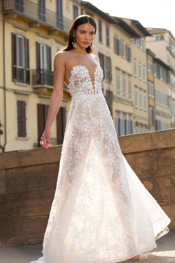 Strapless illusion lace bodice plunge neckline bridal gown with sheer lace