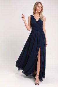 Navy blue V neck maxi dress