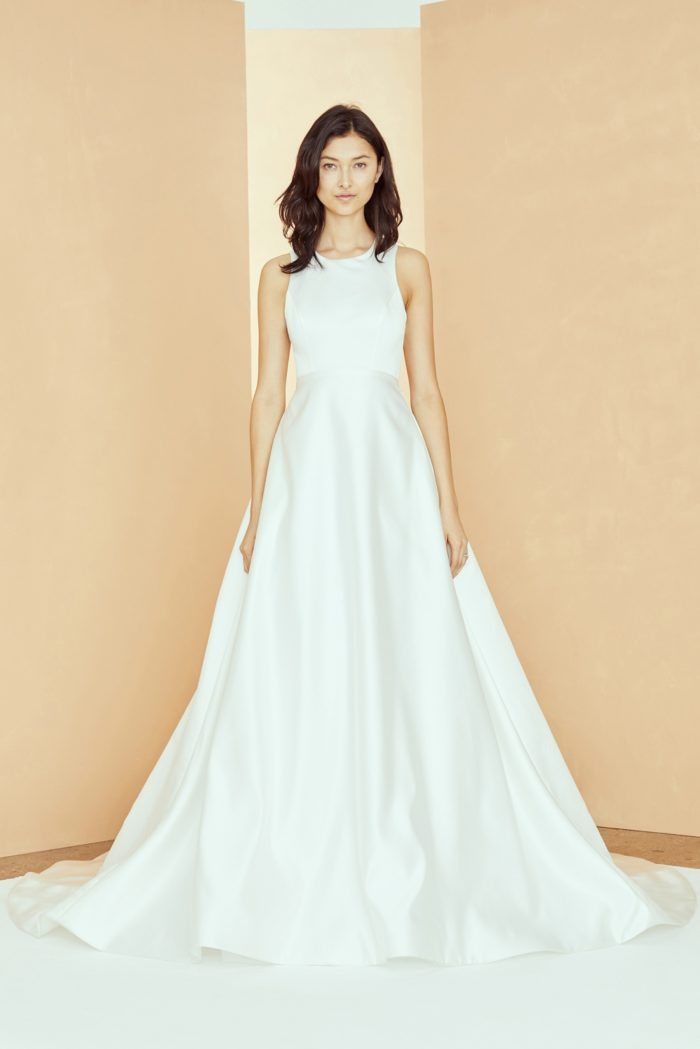 High neck sleeveless ball gown wedding dress Nouvelle Amsale Maggie