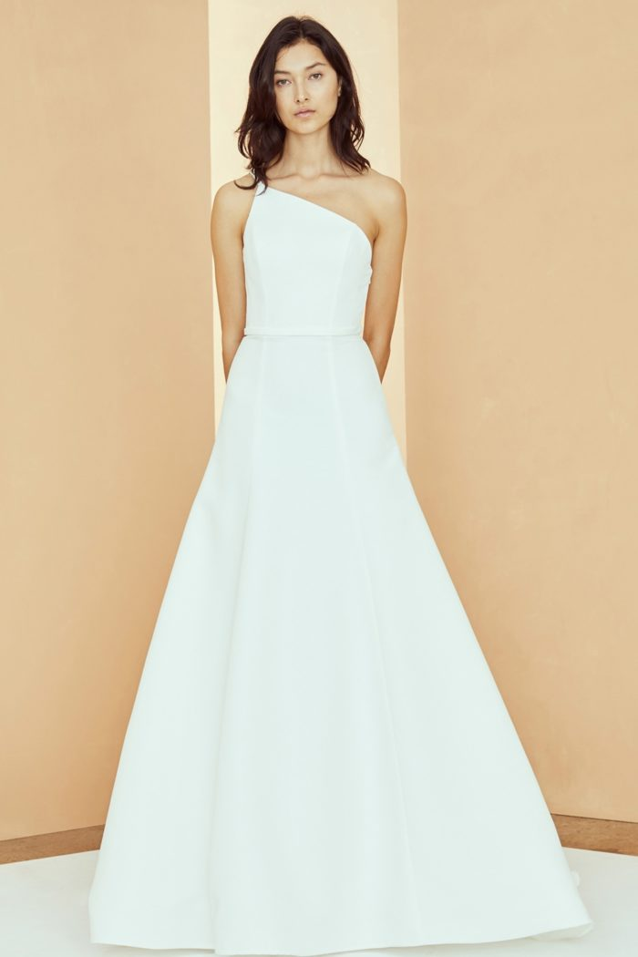 A line one shoulder wedding dress | Brandon Nouvelle Amsale