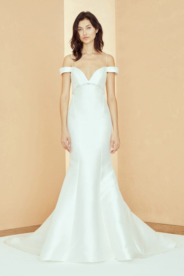 Silk off the shoulder wedding dress