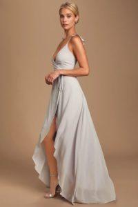 Fluttery light grey maxi dress
