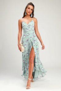 Pale green floral print high low maxi dress