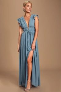 Boho style blue maxi dress