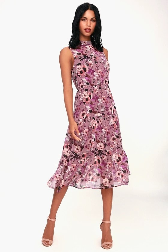 Purple floral print high neck dress for a wedding guest