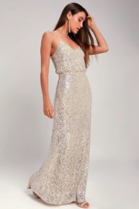 Silver and gold sequin maxi dress
