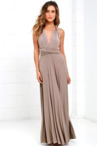 Taupe beige convertible long bridesmaid dress