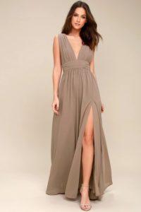 Deep V Neck Maxi Dress in Taupe Beige