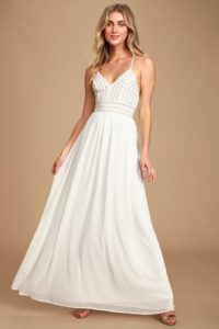 White maxi dress with beaded bodice simple affordable wedding dress