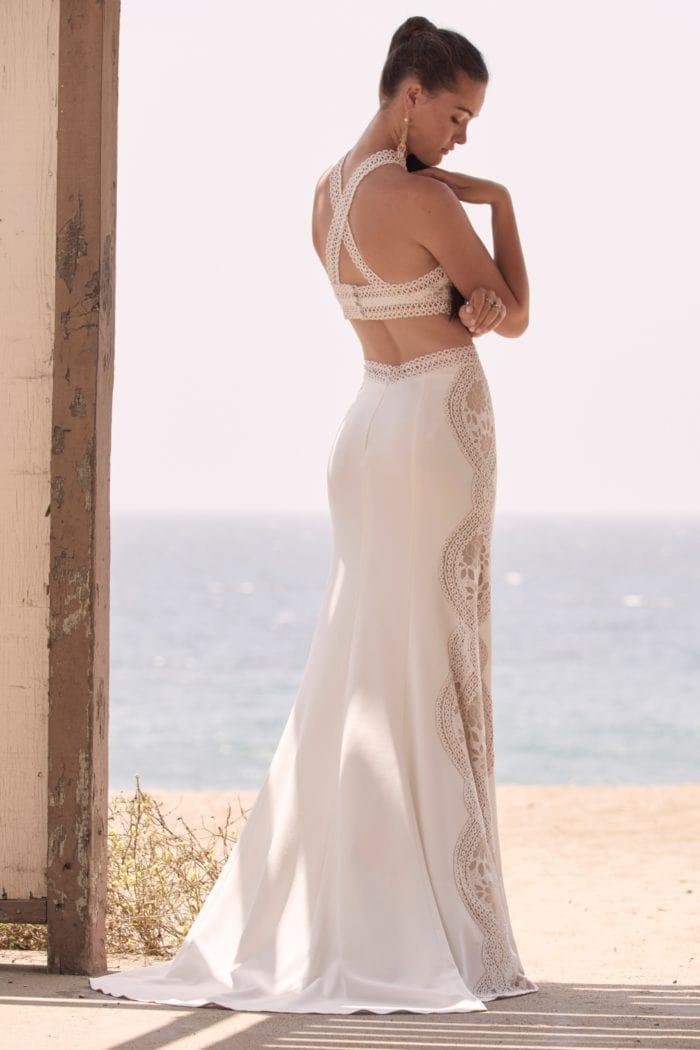 Boyd Gown Lace panel unique boho bridal gown