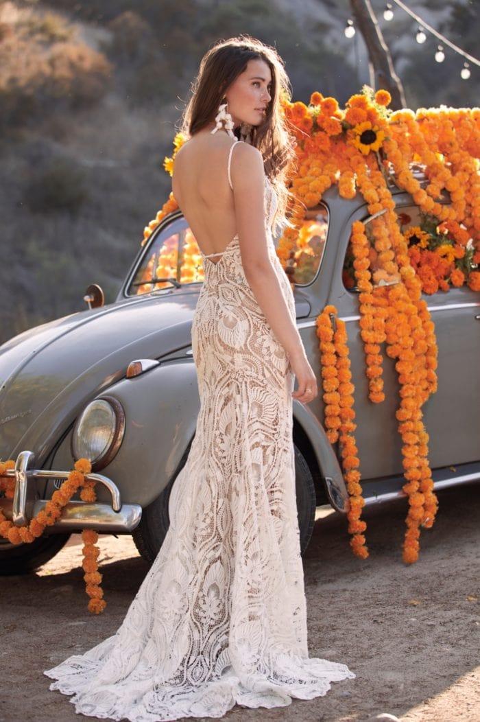 All over lace spaghetti strap wedding dress