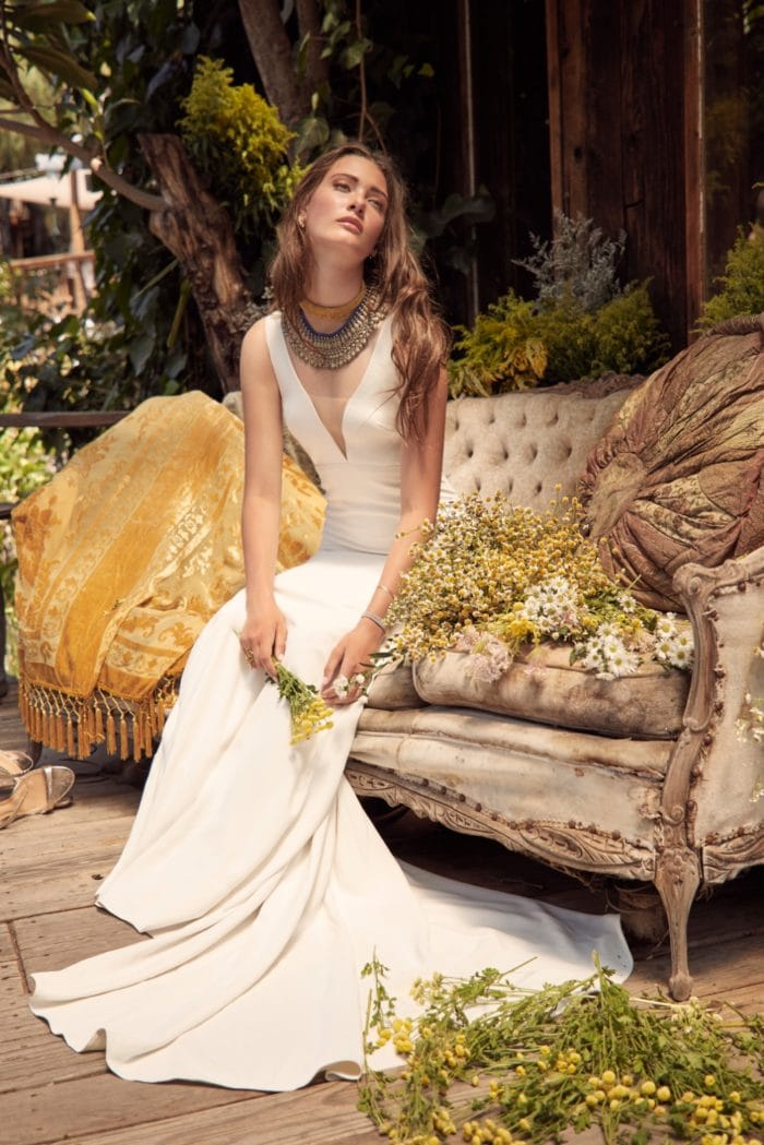 Deep V neck bridal gown Cole Willowby Wedding Dress