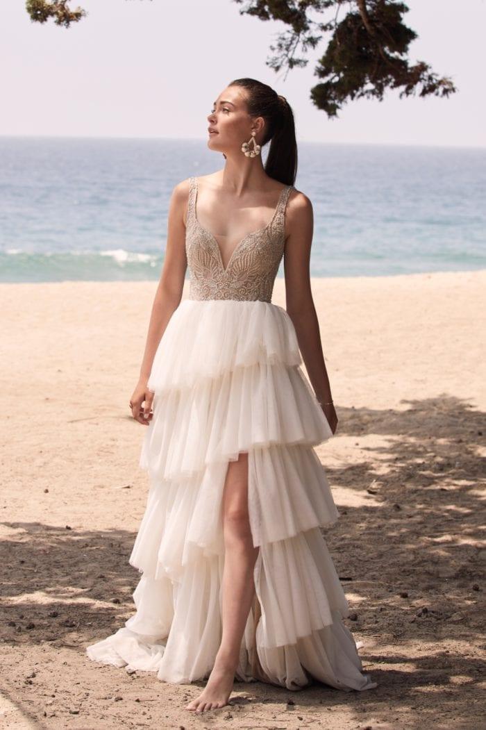 Tiered beaded wedding dress Paisley