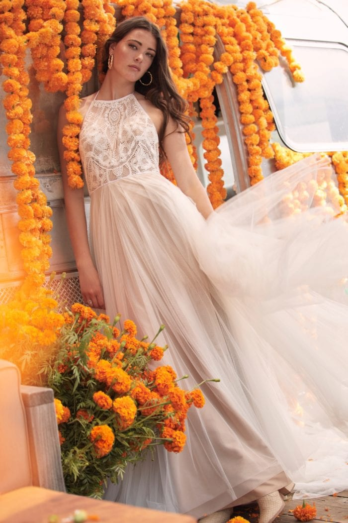 High neck lace tulle Willowby Wedding Dress