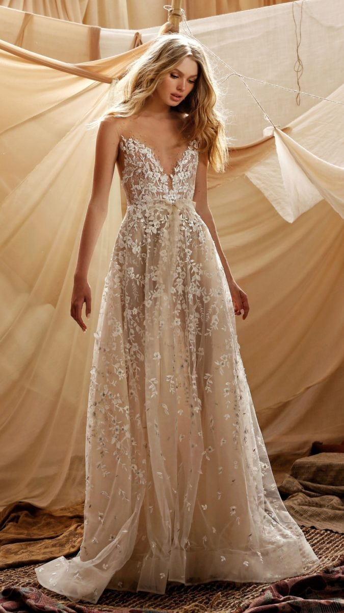 Gaia sheer spaghetti strap lace wedding dress