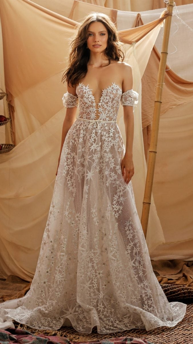 Off the shoulder plunge neck lace wedding dress