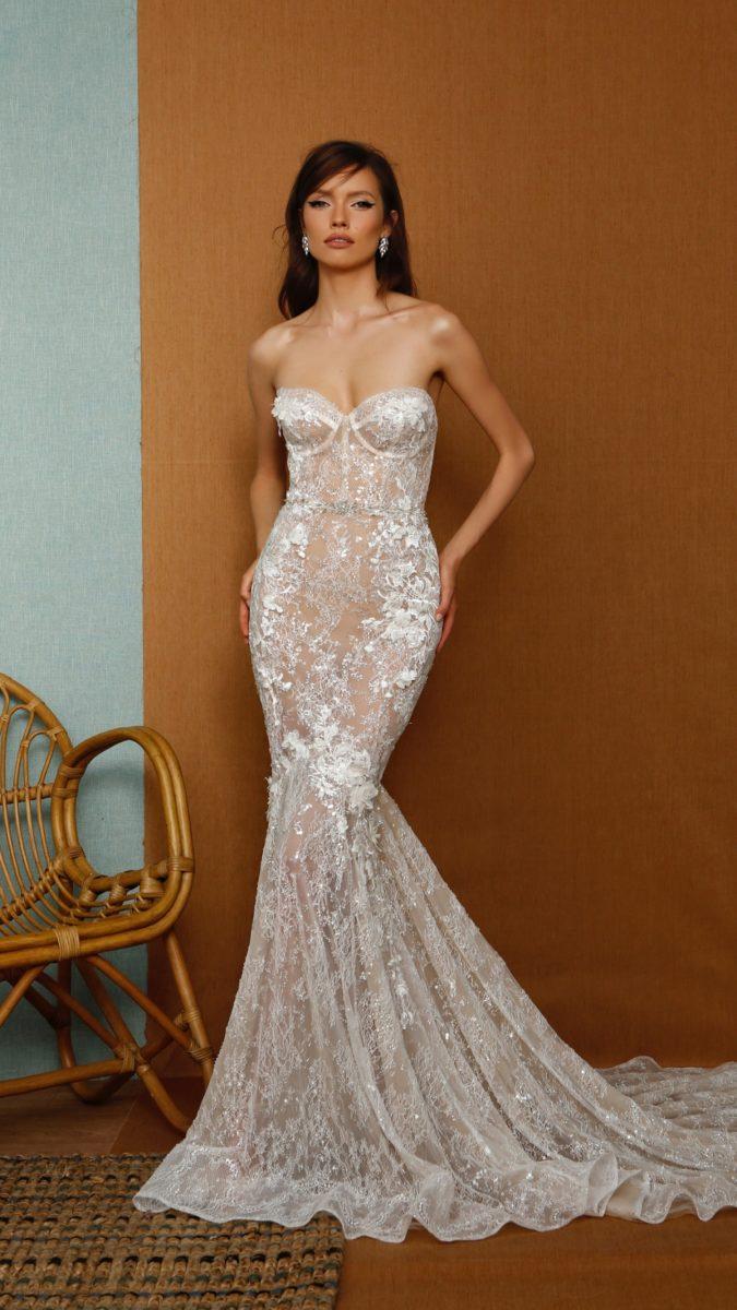 Strapless lace Berta Privee Wedding Dress