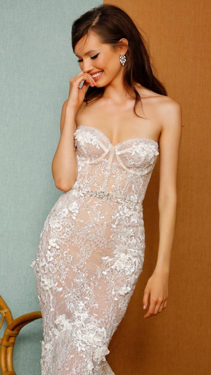 Strapless lace corset bodiceBerta Privee Wedding Dresses Spring 2021