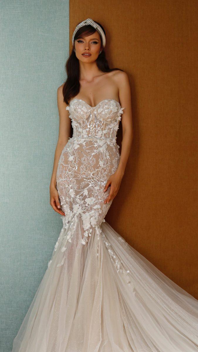 Sheer lace Berta Privee Wedding Dresses Spring 2021