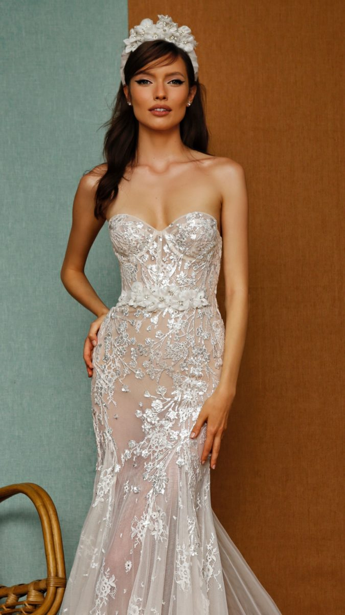 Metallic lace strapless Berta Prive Wedding Gown