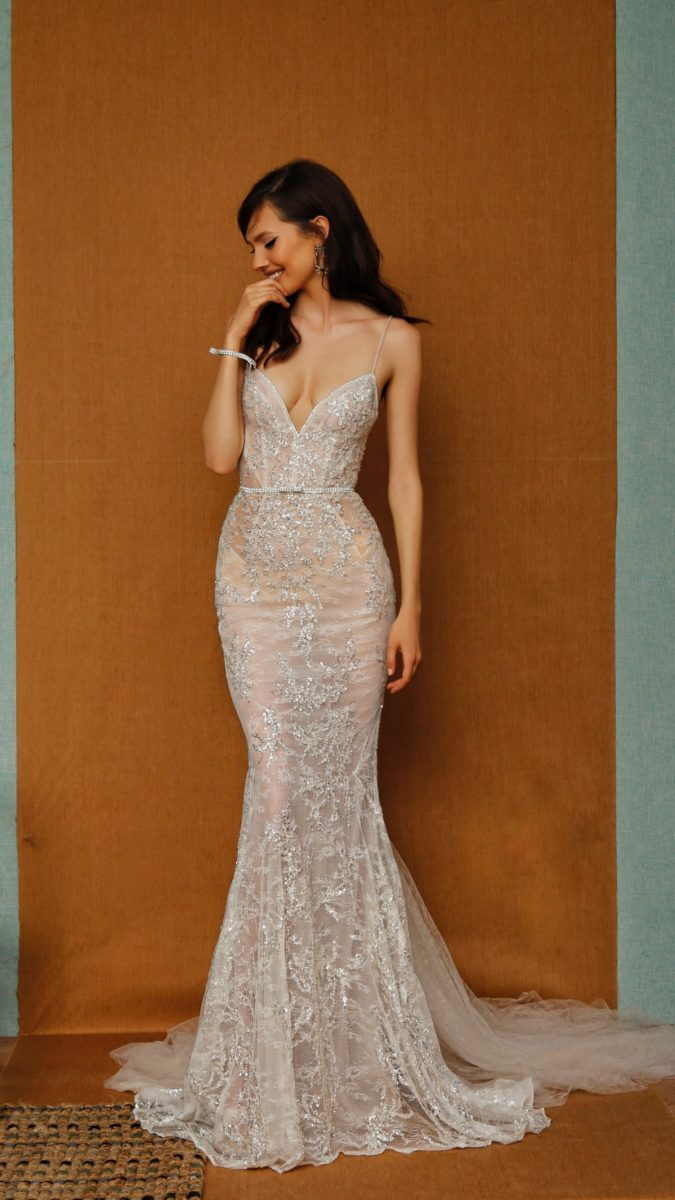 Fitted strapless nude bridal gown plunge neckline