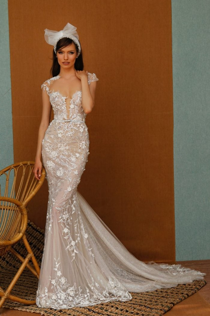 Cap sleeve sheer lace designer gown with plunge