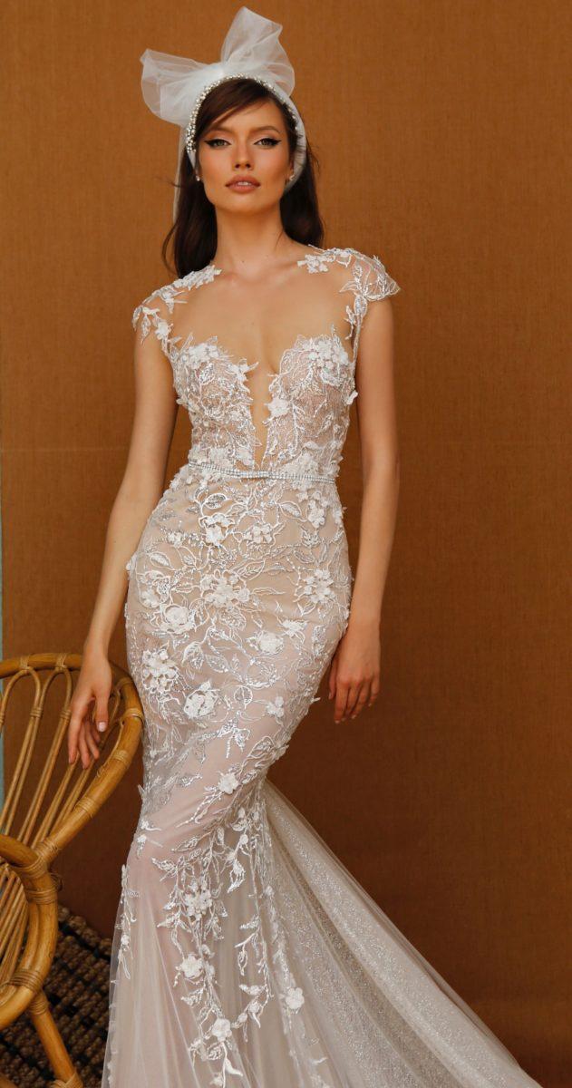 Illusion Plunge Wedding Dress