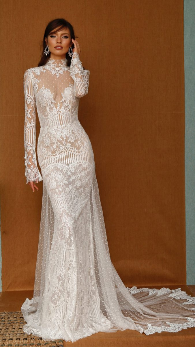Long sleeve sheer lace swiss dot high neck bridal gown