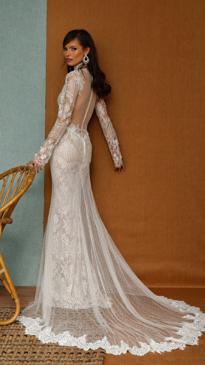 Sheer back High neck long sleeve designer wedding dress