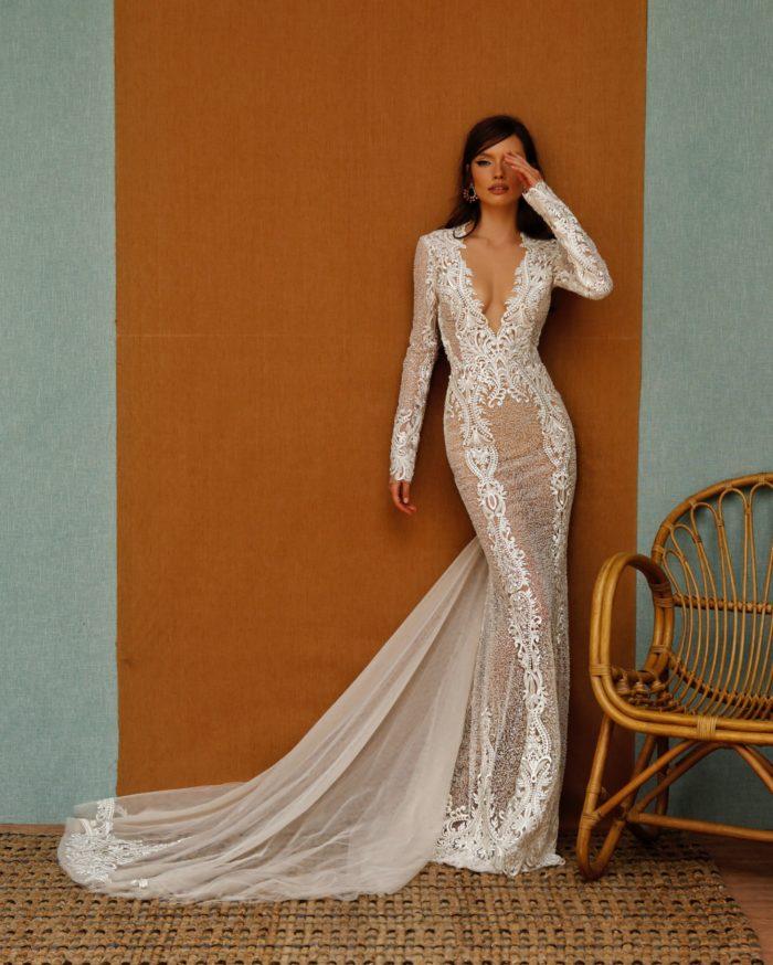 Long sleeve deep v mermaid bridal gown by top designer