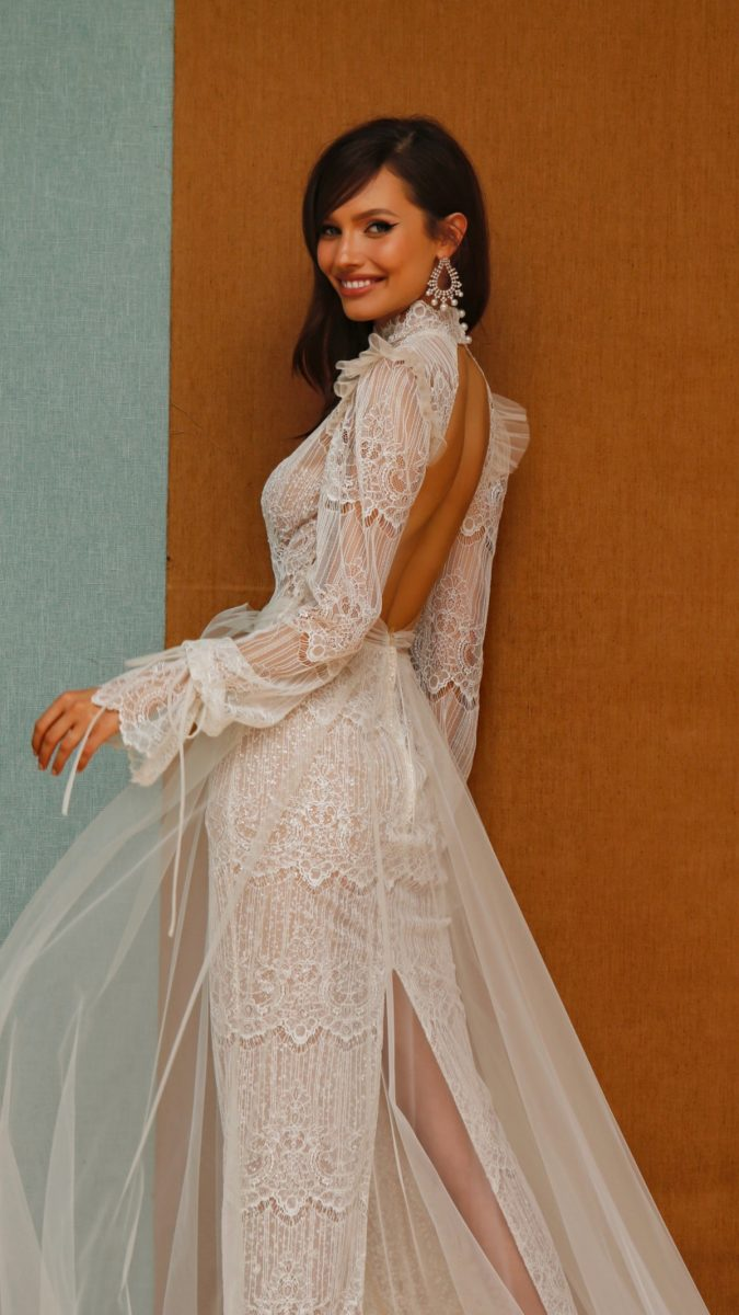 Long sleeve keyhole back puff sleeve couture bridal gown