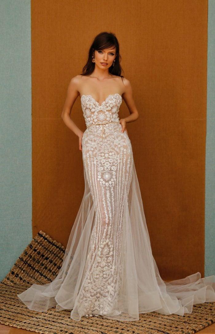 Strapless sheer embriodered designer bridal gown
