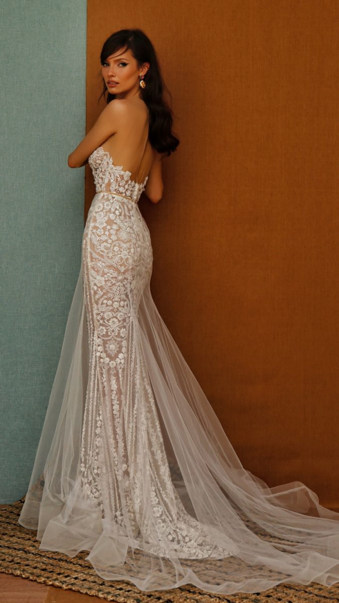 Strapless bridal gown with overlay